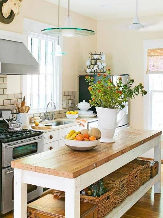 Butcher block narrow kitchen island with open storage space
