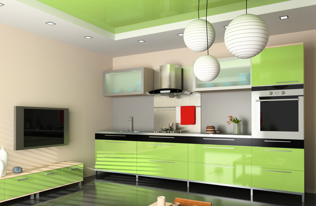 Kitchen 5: A striking lime green high gloss kitchen, with black accents.
